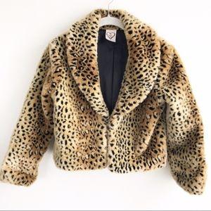 Jackets & Blazers - Faux Fur Leopard Animal Print Crop Shrug Jacket